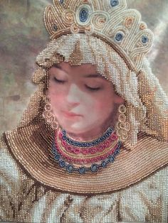 The picture is embroidered with the Czech beads on atlas. A unique item from FairyBeadsStore on Etsy. Art and collectibles. Embroidery art. Embroidery design. Hand embroidery artwork.