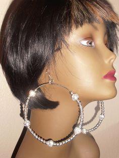Five Point BIG Loop Beaded Earrings by CherrysOriginals on Etsy, $15.00