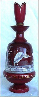 STUNNING MOSER/ HARRACH ANTIQUE GLASS PERFUME BOTTLE HAND PAINTED