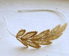 gold lace headband