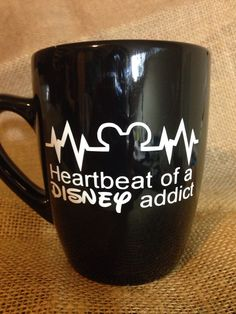 Heartbeat of a disney addict Custom Coffee mug. by LittleOnceBoutique on Etsy https://www.etsy.com/listing/216505698/heartbeat-of-a-disney-addict-custom