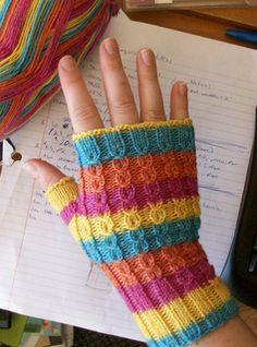 Candy Stripes pattern by Joanne Yordanou Candy Stripes Fingerless Gloves Learn the fact (generic ter Fingerless Gloves Knitted, Knit Mittens, Knitted Hats, Crochet Gloves Pattern, Mittens Pattern, Knitting Projects, Knitting Patterns, Crochet Patterns, Wrist Warmers