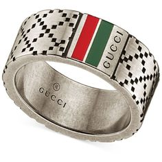 db62386efc8edc Gucci Men's Sterling Silver Diamond Pattern Wide Ring YBC295675001021  ($240) ❤ liked on Polyvore
