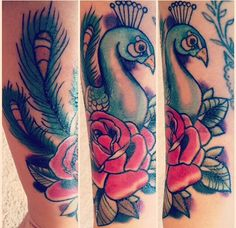 Peacock and rose tattoo