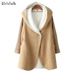2016 New Terry Real Ukraine Winter Coat New Long Knitting Sleeve Cap Lamb Cardigan Girl Clothes Students Clothing Parka Jacket