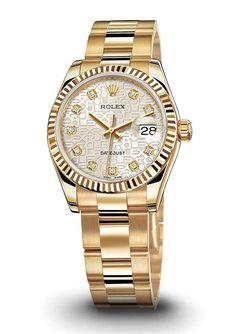 ♛ Rolex ladies datejust 18k Gold w/diamond dial ♛