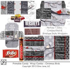 Printable Candy Wrap Combo includes Hershey 1.55oz, Hershey 4.25 oz, Hershey Nugget, Rolo, Mini, Kit Kat and Snickers Regular and Snickers Funsize wrappers.  Full sheets of wrappers included. Designed to match Gina Jane's Christmas Birds sold here COMPANY: Printable Digital Paper Crafts, Clipart, Scrapbooking, Stamp, Party - DaisieCompany.com
