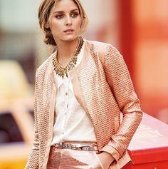 Olivia Palermo in metallic pink