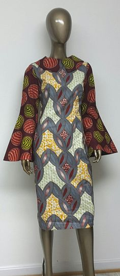 b73ed7c2602 Multi African Wax Print Lined Dress. Womens Clothing. Handmade Clothing.  Long Bell Sleeves. Womens Dresses