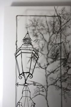 Helaina Sharpley, artist in wirework wall art pieces of edwardian architecture and tea drinking