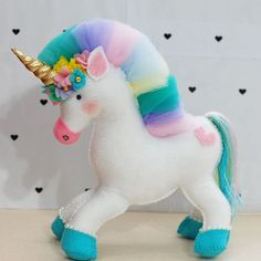Pastel Color Unicorn Stuffed Dolls Soft Plush Toys for Kids Christmas Gift Gold First Birthday, Unicorn Birthday Parties, Unicorn Party, Birthday Cake, Cute Crafts, Felt Crafts, Diy And Crafts, Crafts For Kids, Princess Cake Toppers