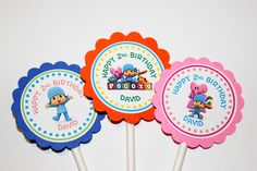 Pocoyo Cupcake Toppers, Pocoyo Birthday Party Themed Decor, Pocoyo theme party, Personal Cupcake toppers. $20.00, via Etsy.