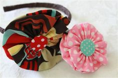 Fabric flower head bands, easy to make with kids!