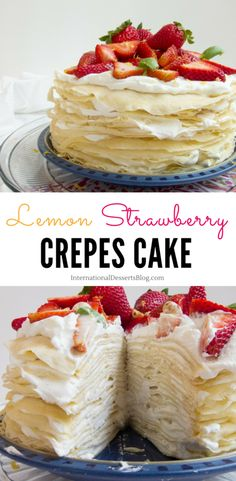 If you like lemon and strawberries, you'll LOVE this easy French mille crepe cake! It's the perfect birthday, anniversary or afternoon tea cake. Creamy lemon whipped cream filling, tender crepes, and Food Cakes, Cupcake Cakes, Cupcakes, Muffin Cupcake, Just Desserts, Delicious Desserts, Lemon Whipped Cream, Strawberry Crepes, Desert Recipes