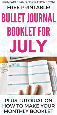 Here's my July bullet journal booklet with Dutch door. Quick tutorial how I prepared my bullet journal spreads plus the free printable that you can download. #bulletjournal