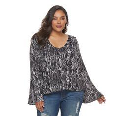 Plus Size Jennifer Lopez Printed Scoopneck Tee, Women's, Size: 2XL, Grey