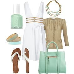 I love this cardigan with the dress; Essie nail color and the bag are gorgeous.......soft-spoken outfit; very feminine.