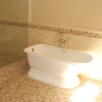 More cork tile. Bathroom design, wall tile, pebble tile, pebble bath, pebble floor, pebble shower, pebble bathroom