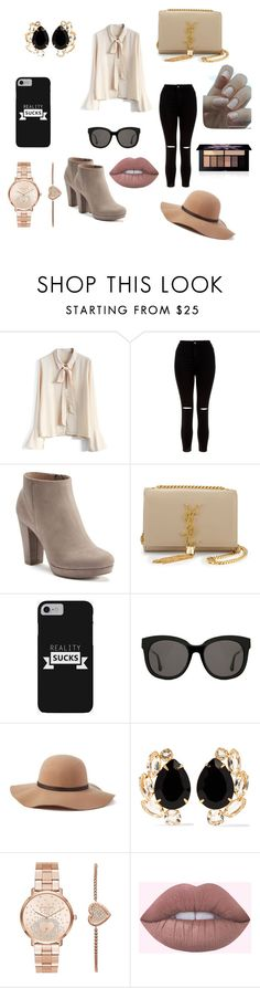 """""""My combination"""" by adnan-salkic-294 ❤ liked on Polyvore featuring Chicwish, New Look, LC Lauren Conrad, Yves Saint Laurent, Gentle Monster, Scala, Bounkit, Michael Kors, Smashbox and men's fashion"""