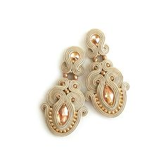 Soutache jewelry Soutache clip-on earrings Bridal by SaboDesign