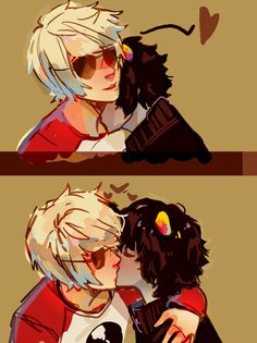 sierra and mardy are so extremely cute that i had to draw this based off their gif post like holy whoa can you guys get even more precious Homestuck Comic, Homestuck Characters, Drarry Fanart, Yuri, Davekat, And So It Begins, Striders, Cute Gay, Anime