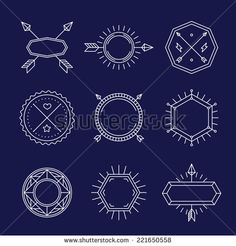 Vector set of outline emblems and badges - abstract hipster logo templates - stock vector