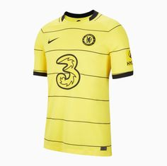 Chelsea 21/22 Away Men Soccer Jersey Personalized Name and Number – zorrojersey Chelsea News, Fc Chelsea, Football Kits, Yellow Shirts, Black N Yellow, Premier League, 21st, Soccer, Mens Tops