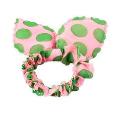 FOREVER YUNG Girls Green Pink Rabbit Ear Detail Chiffon Hair Band Ponytail Holder *** Click image to review more details. #hairfashion