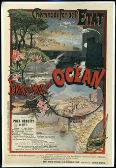 Bains de mer de l'océan - Royan - La Rochelle - Pornic - Fouras - illustration de de G. Fraipont - France -