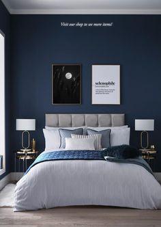 Blue Master Bedroom, Blue Bedroom Walls, Blue Bedroom Decor, Bedroom Wall Colors, Bedroom Color Schemes, Room Ideas Bedroom, Home Bedroom, Navy Blue Bedrooms, Blue Feature Wall Bedroom