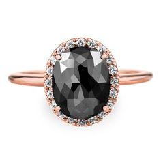 2.5 Carat Black Diamond Engagement Ring 14k by PointNoPointStudio