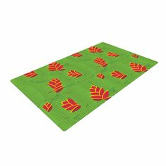 """Yenty Jap """"Heliconia"""" Green Red Woven Area Rug"""