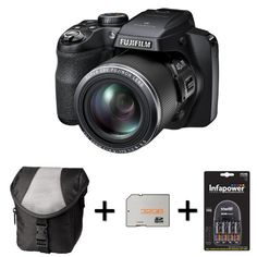 16 megapixel BSI-CMOS sensor with Fujinon 40 x optical zoom lens 3.0 inches LCD,Optical Image Stabilisation Full HD Video 1080i/60fps with stereo sound, Works 4-AA Batteries 10fps continuous shooting a built-in electronic viewfinder and 11 different artistic effects Fujifilm FinePix S8200 + Case + 32GB Memory Card + 4 AA Batteries and Charger