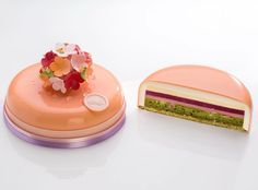 We shared a great montage last week of chef Amaury Guichon cutting into some of his latest creations. This week we are proud to present… Zumbo's Just Desserts, Layered Desserts, Fancy Desserts, Fancy Cakes, Sweets Recipes, Mirror Glaze Cake, Peach Cake, Pastry And Bakery, Mousse Cake