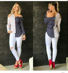 Short Outfits, Fall Outfits, Cute Outfits, Cute Fashion, Trendy Fashion, Revamp Clothes, Shirt Dress Pattern, White Jeans Outfit, Fancy Tops