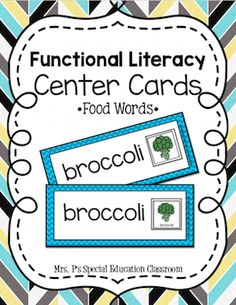 Functional Literacy Center- Food from Mrs. P's Special Education Classroom on TeachersNotebook.com -  (40 pages)  - Functional Literacy Center using Food Words! Differentiated Food Visuals with Words, Food Visuals -Match Food Word with Visual 70 Breakfast, Fruits, Vegetables, Lunch, Dinner Words: