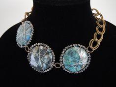 Wire Wrapped Stone Necklace by Debbie Renee Lapis by DebbieRenee, handmade jewelry
