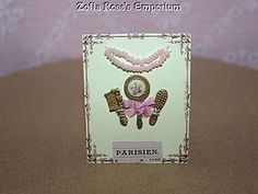 Tiny French Fashion Presentation Display Card with Pink Accents (item #1281387)