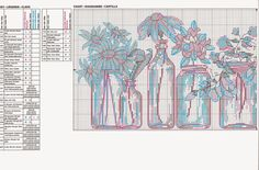Free jars of flowers cross stitch pattern pg1 #stitching                                                                                                                                                     More