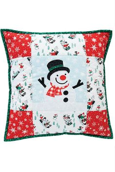 Chilly Willy Pillow. You'll want to keep this pillow out even after the snow melts! This jolly snowman is a simple quilt design with easy machine appliqué and a patchwork border. What's a great addition to a Christmas quilt pattern or holiday quilt pattern? A Christmas pillow pattern!