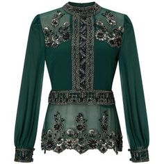 Miss Selfridge Grace Embellished Blouse at John Lewis Miss Selfridge Tops, Green Blouse, Green Shirt, Royal Clothing, Embellished Top, Red Skirts, Classic Outfits, Tomboys, Blouse Designs