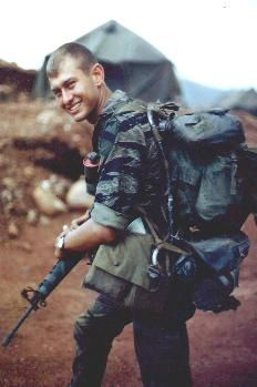 """1st Cav LRRP late 1968. """"Note the items attached to his ruck! an awesome shot of some of the gear used by the LRRPs."""" ~ Vietnam War"""