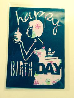 Black and Pink Cut Out Lady Birthday Card by TreasuresandSparkle