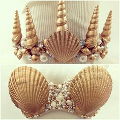 Custom Mermaid Shell Top w/ Crown by RisqueBusinessDesign on Etsy, $135.00