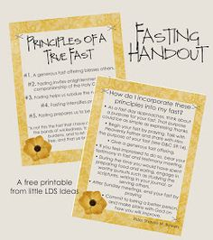 Little LDS Ideas: 'Principles Of A True Fast' Handout