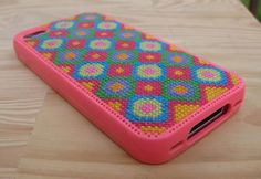 So cute!! Pink Buttonz iPhone 4 Cross Stitch Case Kit by lbaldauf on Etsy, $29.00