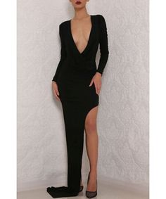 Sexy Plunging Neck Long Sleeve Pure Color Asymmetrical Women's Dress