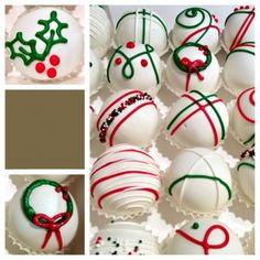 Christmas cake balls with holly, wreaths, and stripes Christmas Cake Pops, Christmas Deserts, Christmas Goodies, Christmas Candy, Christmas Balls, Christmas Ideas, Holiday Cookies, Holiday Treats, Cake Ball Recipes