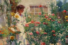 ⊰ Posing with Posies ⊱ paintings of women and flowers - Gregory Frank Harris