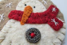 Wool Felt Snowman Ornament Red Scarf Fancy by WoollyBugDesigns